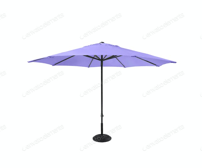 Violet beach umbrella isolated on white