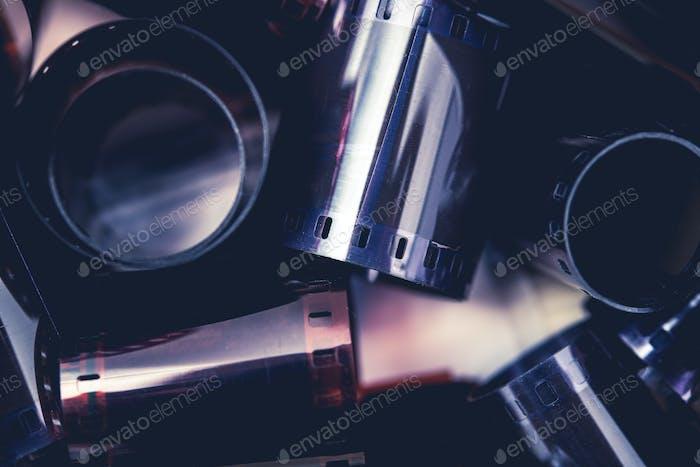 Close Up Of Rolls Of 35mm Film Spools.
