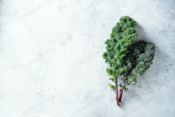 Green and purple Kale leaves
