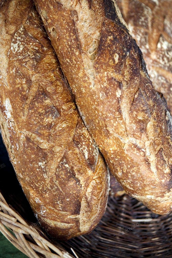 Bread on a basket