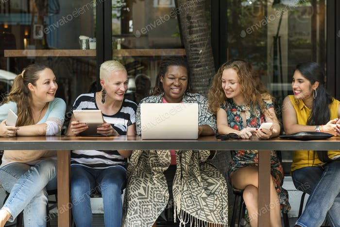Women Using Digital Device Concept