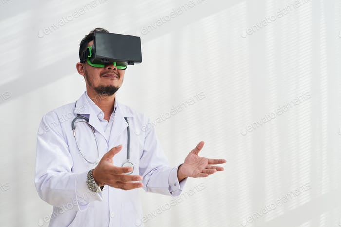 Physician Using VR Headset