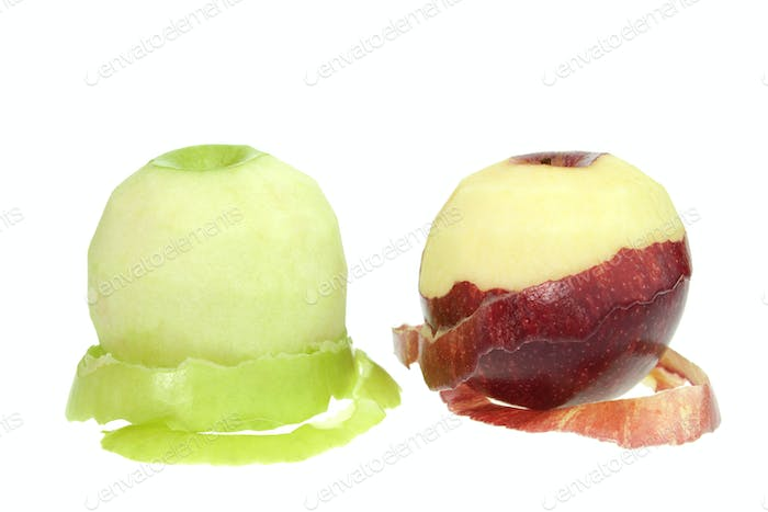 Peeled apple and twisted peel