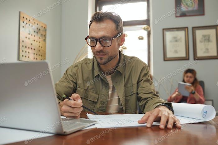 Businessman doing his work