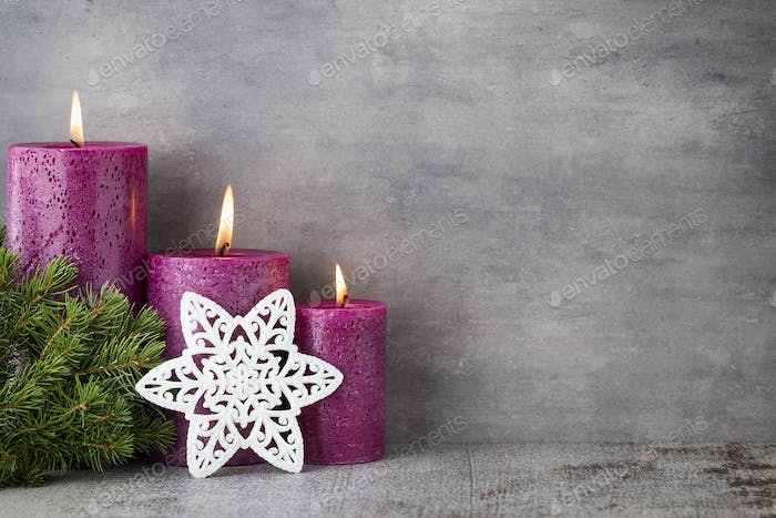 Candle, christmas lights, decors and ornament.