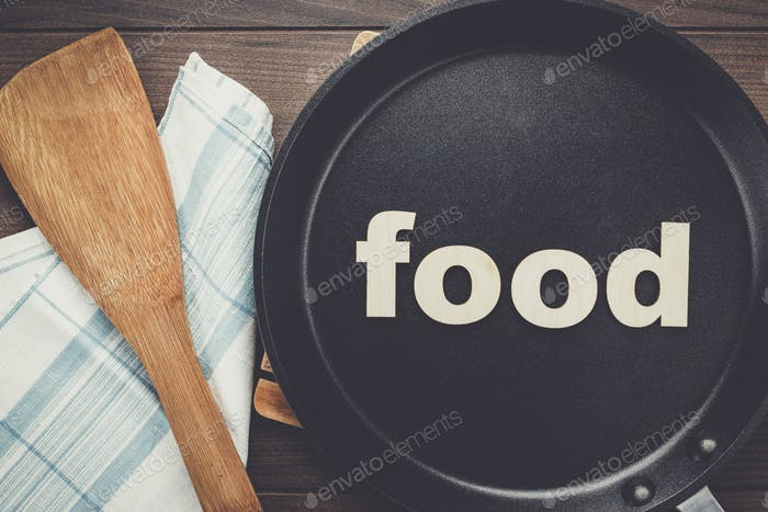 frying pan with word food