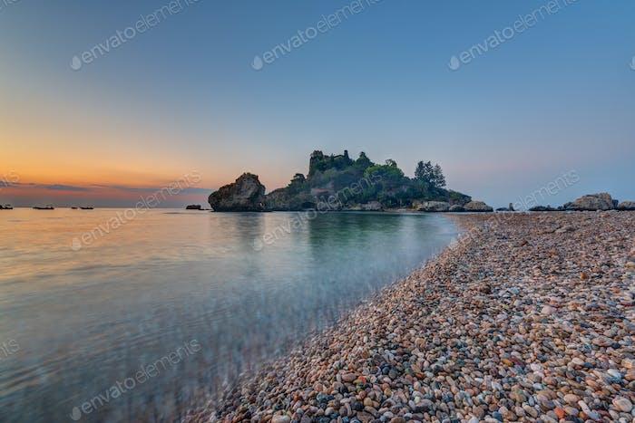 Isola Bella in Taormina at sunrise