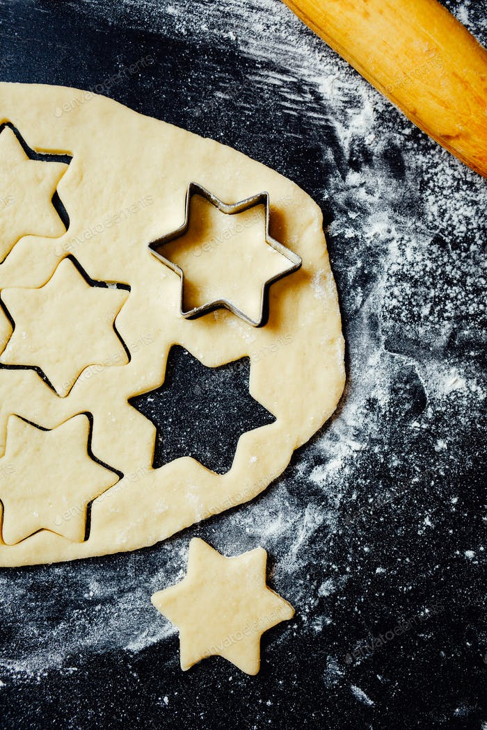 Star cookies made with shortcrust