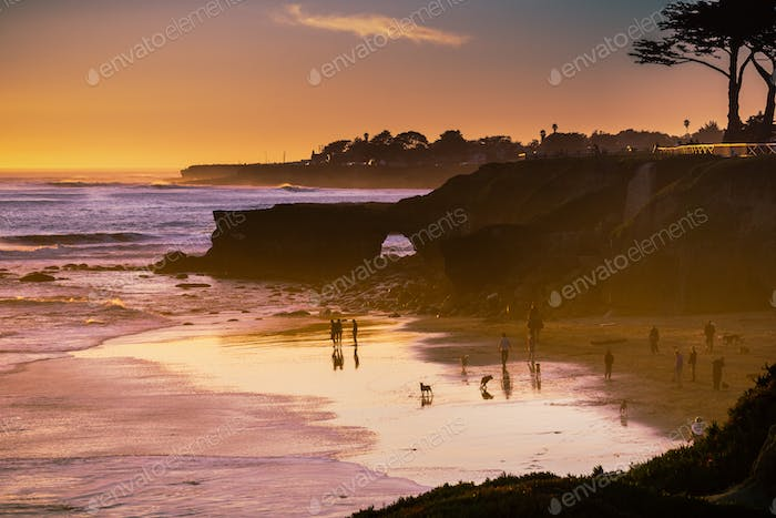 Sunset on the Pacific Ocean coastline, Santa Cruz, California