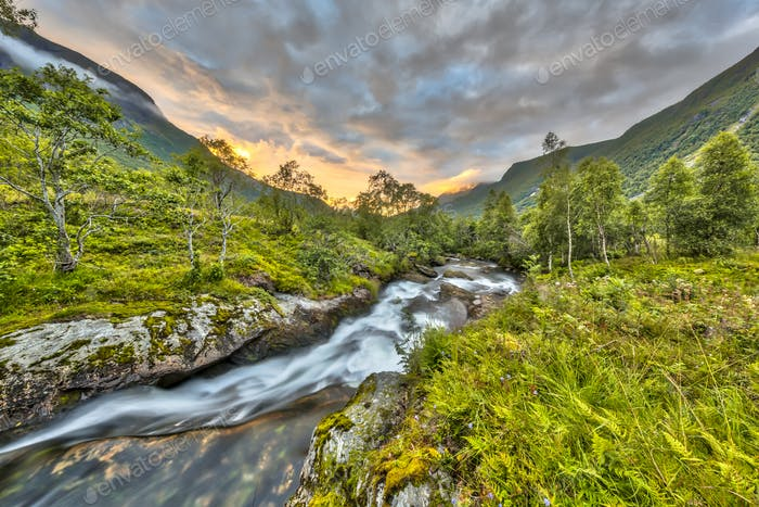 Sunset over small river through birch forest in Norway