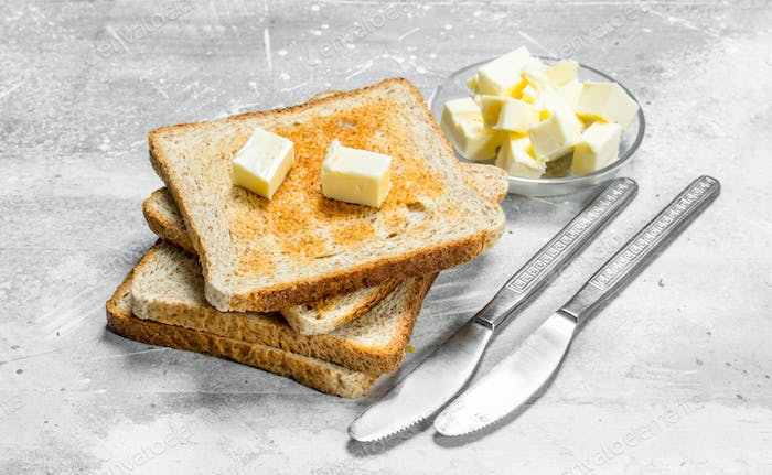 Breakfast. Toasted bread and butter.