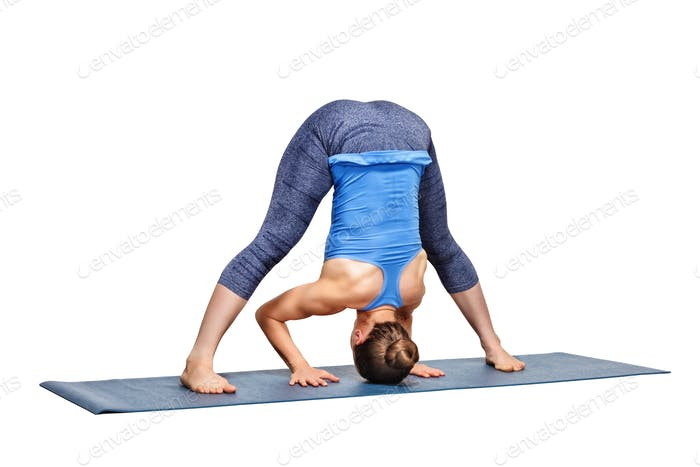 Sporty fit woman practices Ashtanga Vinyasa yoga asana Prasarita