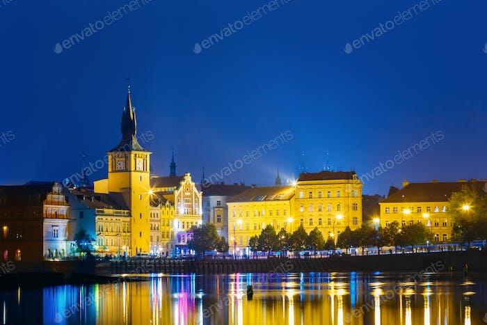 Nacht Panoramablick auf Prager Stadtbild, Tschechische Republik