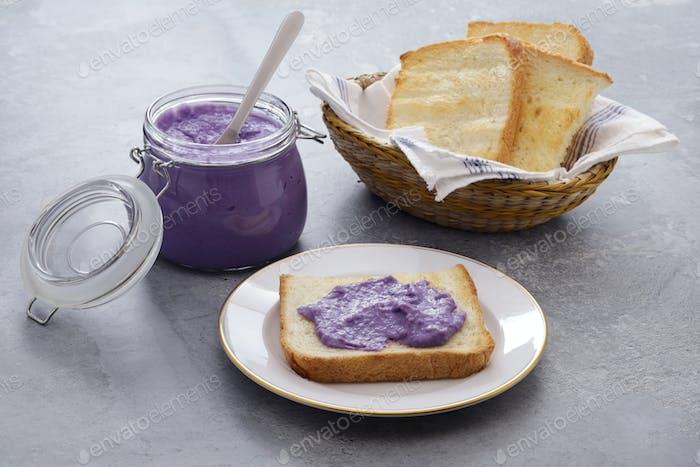 ube halaya( purple yam jam) toast, Philippine food