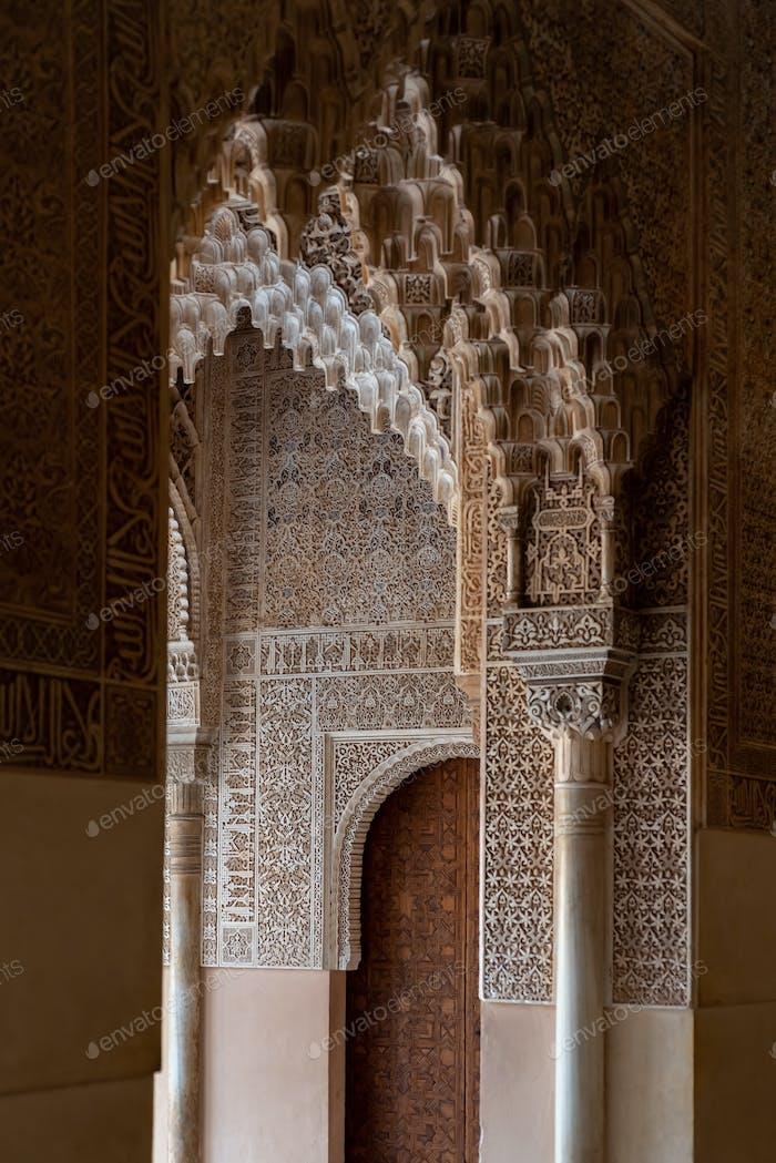 Moorish arches in The Alhambra, Granada, Spain