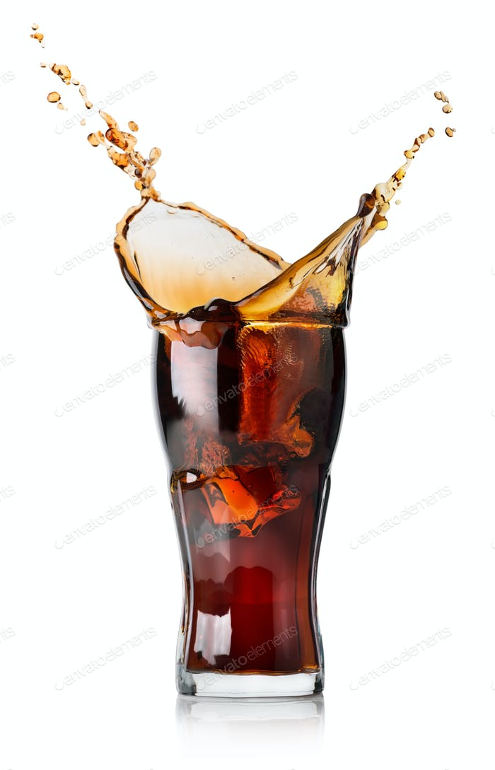 Splash of cola in a glass