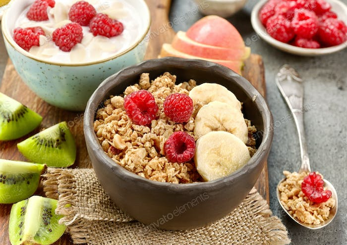 bowl of granola with fruits and berries for healthy breakfast