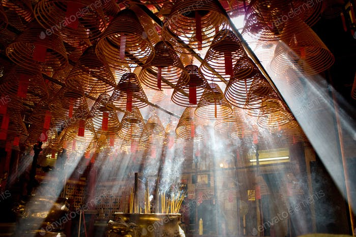 Incense and crepuscular rays in Man mo temple