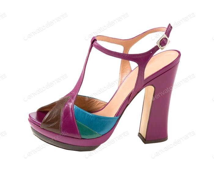 Several colors leather peep toe high heels