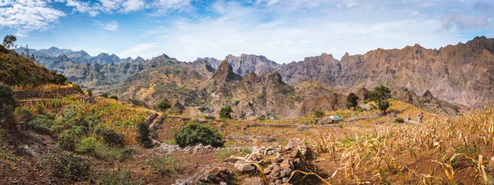 Gorgeous panorama view of the fields of intensive terrace cultivation surrounded by the huge barren
