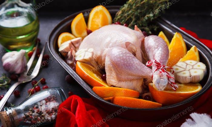 Rohes Huhn Weihnachtsessen