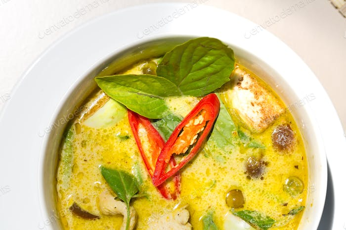 Thai food chicken green curry top view with copy space