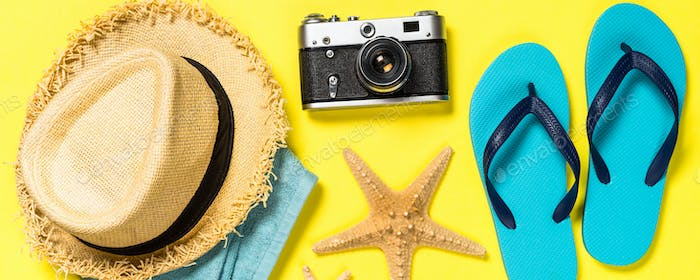Summer travel concept flat lay image