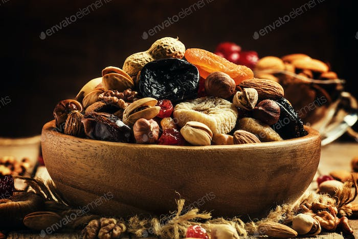Healthy food: nuts and dried fruit