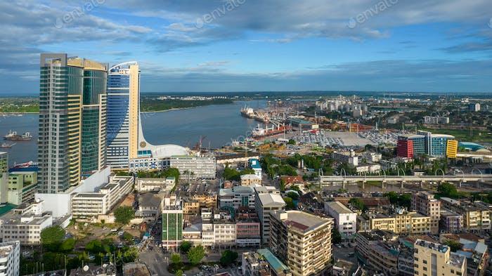 vista aérea de Dar es Salam, Tanzania