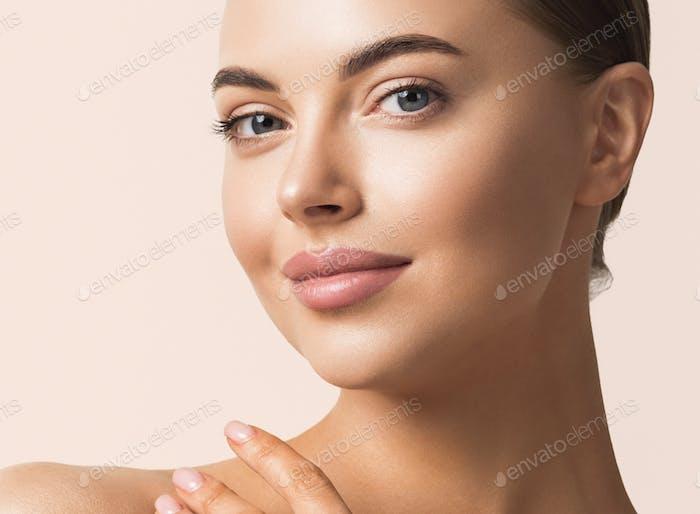 Beauty skin healthy  woman clean skin natural makeup