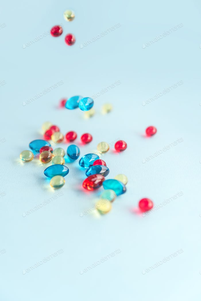 Heap of colorful gel capsules