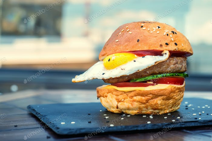 Homemade hamburger with egg