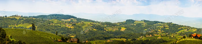 Panorama of Vineyards in south styria in Austria. Landscape of Leibnitz area from Kogelberg
