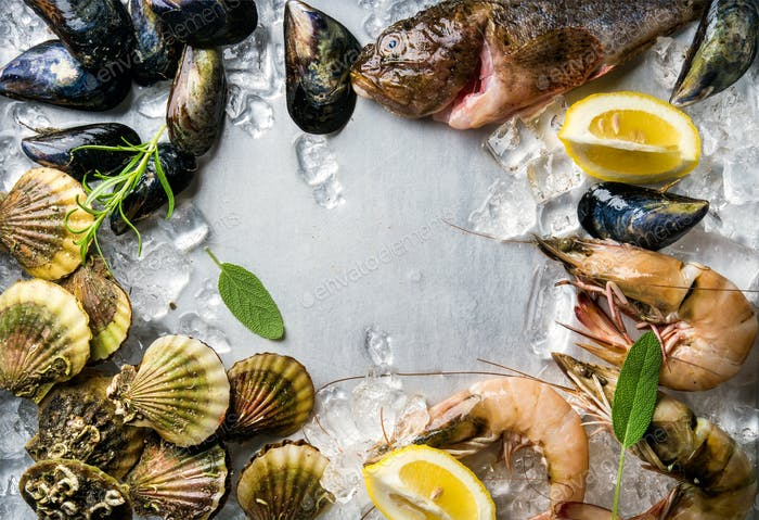 Fresh seafood with herbs and lemon on ice