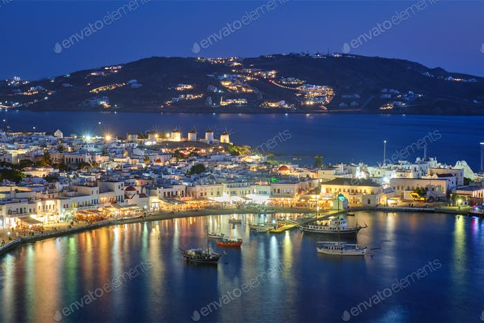 Mykonos island port with boats, Cyclades islands, Greece