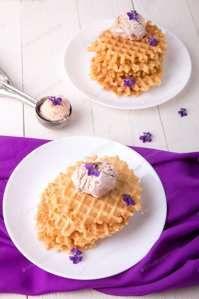 Belgian waffles with ice cream