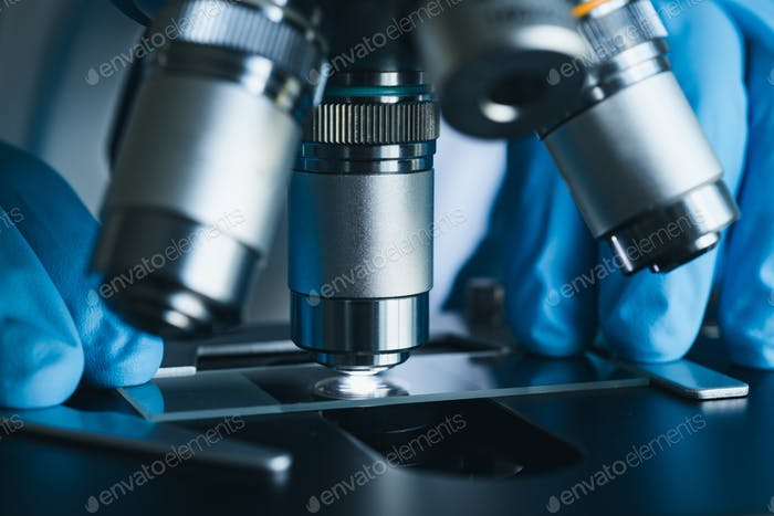 Microscope close-up shot in the laboratory