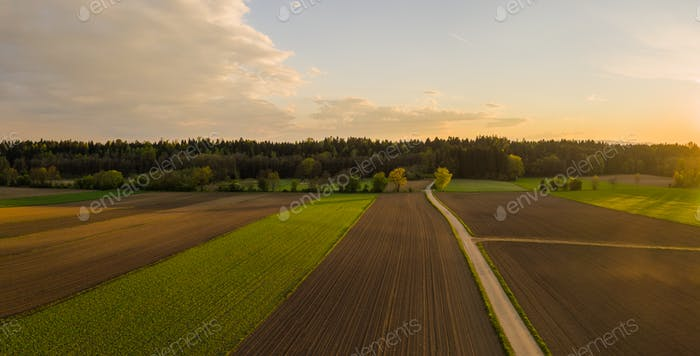 Plowed field in rural area. Landscape of agricultural fields