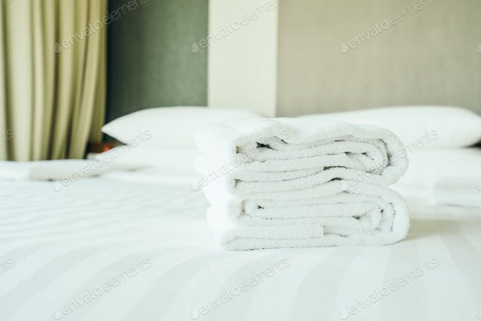 White towel on bed decoration interior