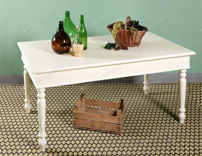 White kitchen table decor composition