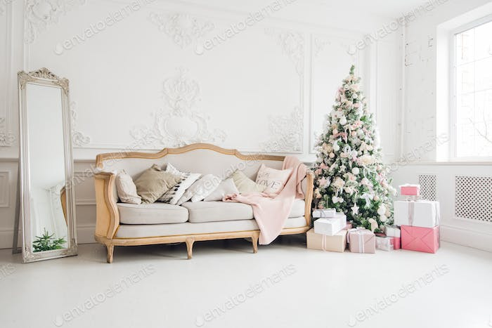 New Year's holiday or celebration, the mood, Stylish Christmas minimalistic interior, Presents