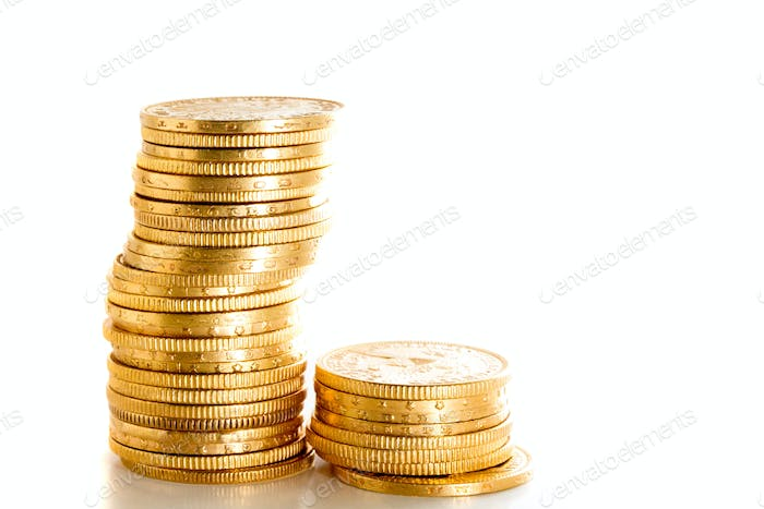 Gold towers of gold coins