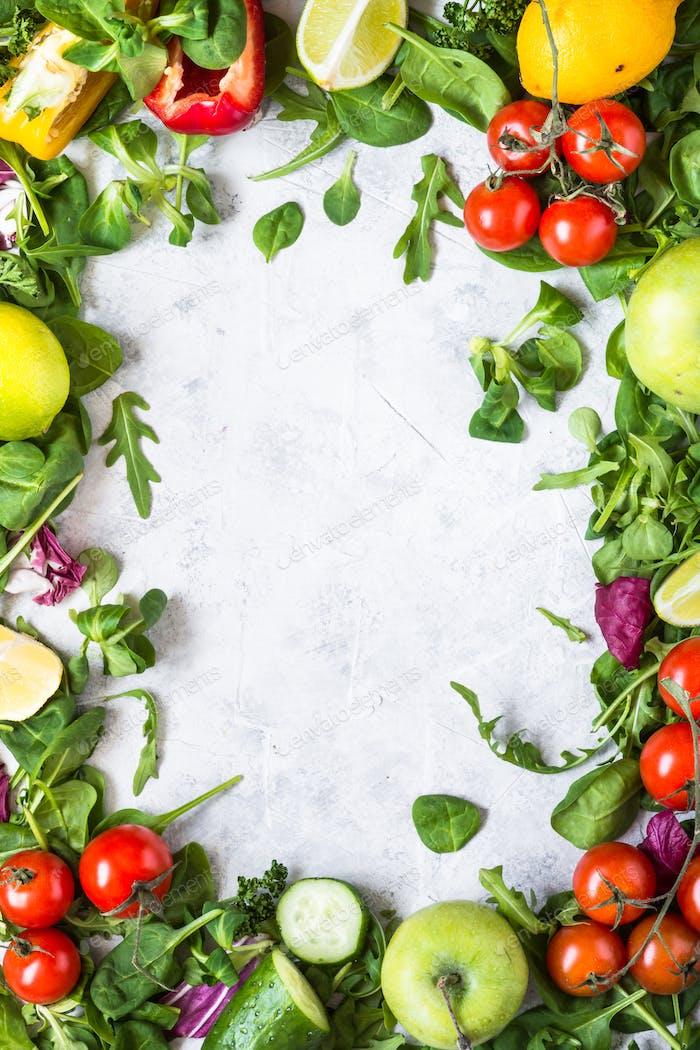 Healthy food background. Food frame.