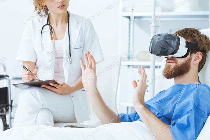Patient wearing VR glasses