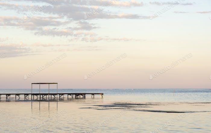 Wooden Dock In Ocean