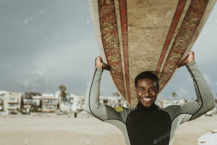 Surfboard on the head