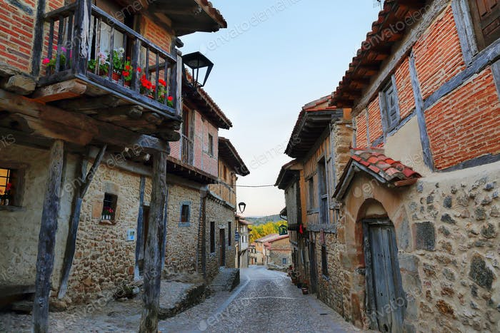 popular architecture in Calatañazor, town of Castilla, Spain,