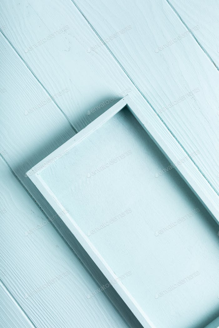 Blue, turquoise wooden plank background.