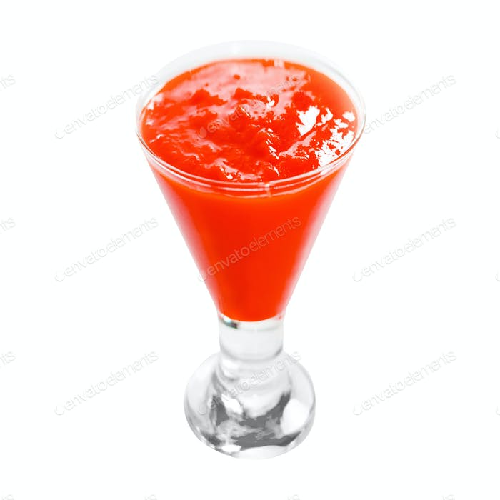 Smoothies of red berries on a white background