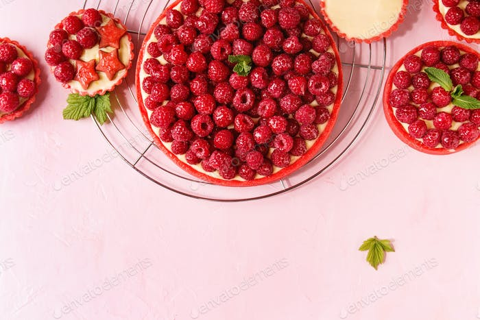 Variety of raspberry tarts